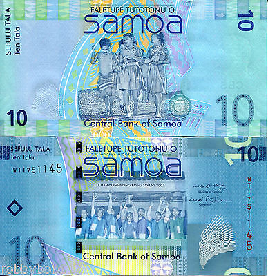 SAMOA 10 Tala Banknote World Money UNC Currency South Pacific BILL p39 2008 Note