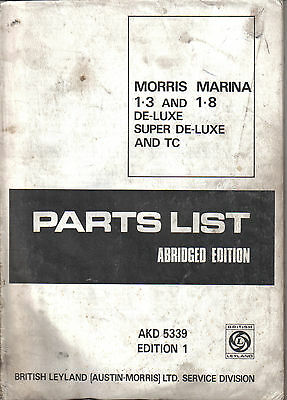 Morris Marina 1.3 & 1.8 original Abridged Parts List AKD 5339 1971 cover missing