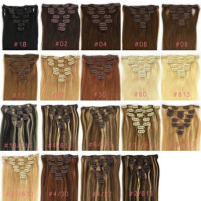 """Full Head 15""""-28"""" Real Remy Hair Comb Clip In Human Hair Extensions Us Stock"""
