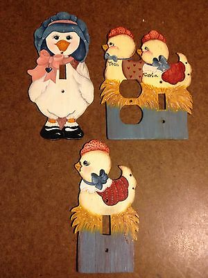 Electric Outlet Covers, Hand Made, Chicks, Goose, Nursery