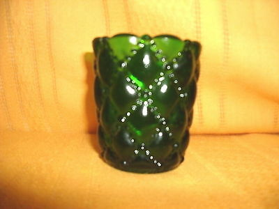 GREEN DIAMOND QUILT VOTIVE  VTG HOME INTERIOR VOTIVE CUP CANDLE HOLDERS