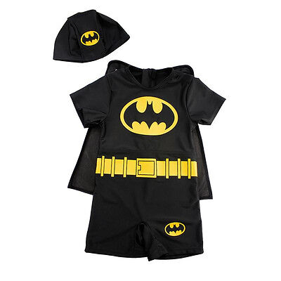 Kids Boys Girls Batman Swim Suit 1Pcs Swimming + Hat Baby Swimwear Size 1-7 Year