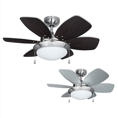 Modern 3 Speed Silver / Brushed Chrome 6 Blade Ceiling Fan with Light / Lights