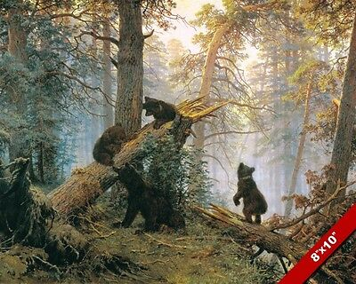 Bear Family Mountain Forest Morning Painting Real Canvas Giclee 8X10 Art Print