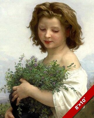 Girl With Lavender Flowers Painting Girls Room Real Canvas Giclee 8X10 Art Print