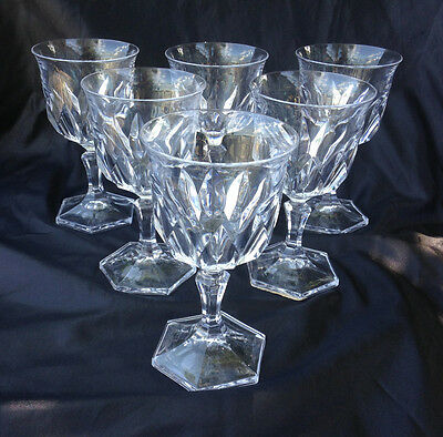 """50% Offf 6 Goblets Water Wine Glasses D'ARQUES DURAND Chaumont Pattern 6 1/8"""""""