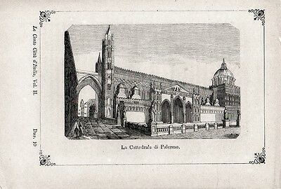 Stampa antica PALERMO la Cattedrale 1871 Old print Engraving