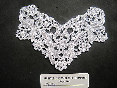 "VINTAGE EMBROIDERED ORGANZA LACE MEDALLION BRIDAL ~ 5/"" round  #1781"