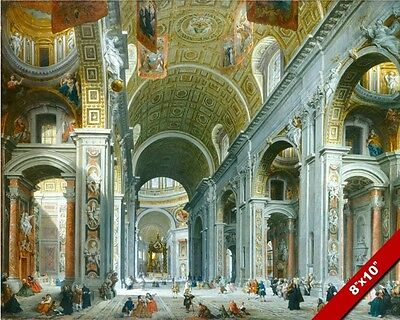 Vatican St Peters Inside Catholic Painting Real Canvas Giclee 8X10 Art Print