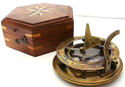 Solid Brass Sundial Compass with Wooden Box - Gilbert & Sons London