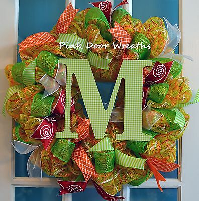 Made to Order - Wreath Door MONOGRAM INITIAL welcome mesh ribbons orange yellow