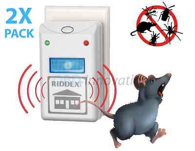 2 PACK 2X Riddex Plus Pest Repellent Repelling Aid for Rats Roaches Spiders Bugs