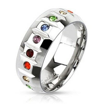 New Stainless Steel Multi-Beveled Rainbow/Gay Pride CZ Band Ring Size 9-13(2159)
