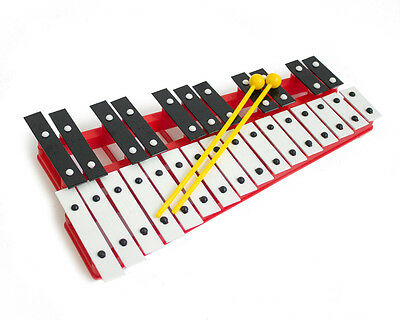 Professional CHROMATIC GLOCKENSPIEL Xylophone with Beaters & Metal Keys - Red