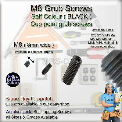 M8 (8mm) GRUB SCREWS Self Colour (Black) Also Available M2 M4 M3 M6 M8 M10 & M12