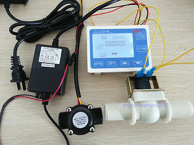 "NEW 3/4"" Water Flow Control LCD Meter + Flow Sensor Solenoid valve Power Adapter"