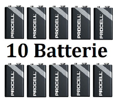 10 Batterie 9V Duracell Industrial Transistor Alcaline Professionali Procell