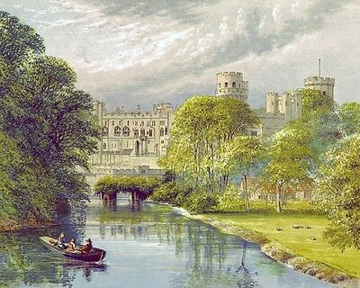 Warwick Caslte England Painting Real Cotton Canvas Giclee 8X10 Art Print