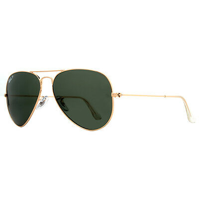 RayBan RB 3025 001/58 Polarized G-15 Lens Gold Aviator Unisex Sunglasses 58mm