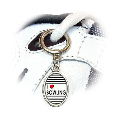 I Love Heart Bowling - Shoe Sneaker Shoelace Oval Charm Decoration