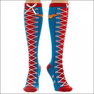 Wonder Woman DC Comics Cosplay Costume Long Faux Lace Up Knee High Boot Socks