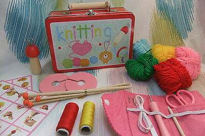 Kaper Kidz Children's Learn to Knit Starter's Kit in Tin Case! Knitting Crafts!