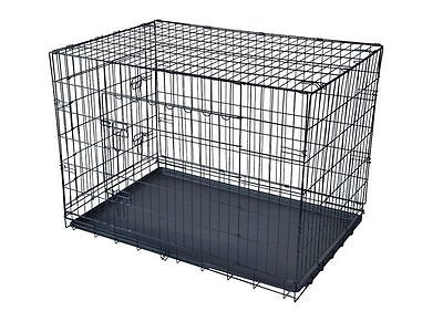 "New Black 30"" 2 Door Pet Cage Folding Dog Cat Crate Cage Kennel w/ABS Tray"