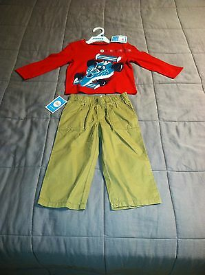 Nwt Circo Baby Boys 24 Months 2 Pc Outfit Red Long Sleeve T-Shirt &  Beige Pants