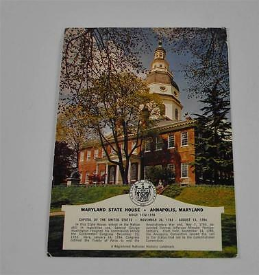 Vintage Postcard Maryland State House Annapolis Marvin Mandel Governor Landmark