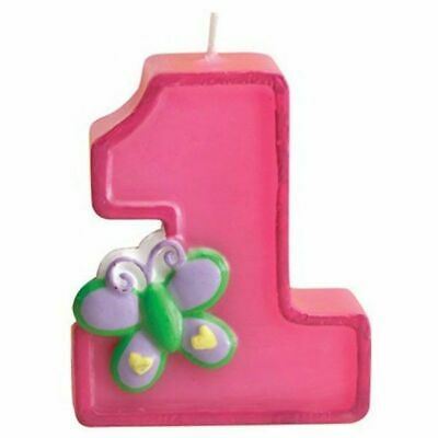 Fun at One Girl Candle 1st Birthday Pink Party Cake Supplies Butterfly