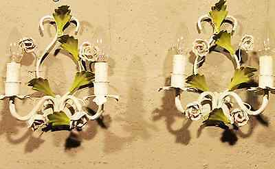 Sweet French Antique Tole Rose Bud Sconces - Pair of 2