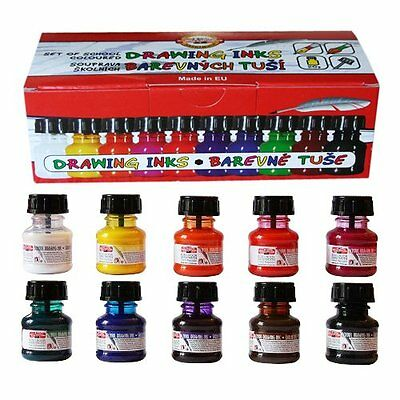 Koh-i-noor 10 X 20g Colored Drawing Inks 141731