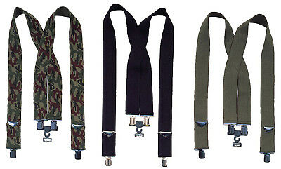 Heavy Duty 2 Inch Thick Suspenders X-Back Clip Adjustable Elastic Military Work