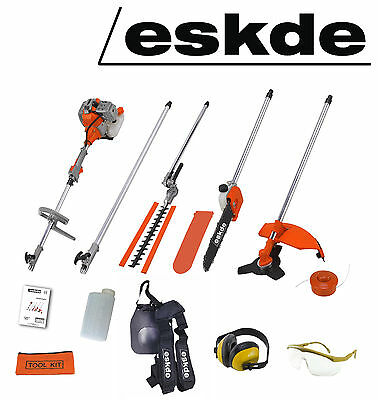 eSkde 52cc Petrol Brush Cutter Strimmer Hedge Trimmer Chainsaw Garden Multi Tool