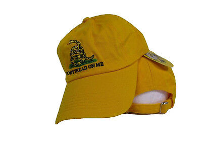 Embroidered WASHED Style Gadsden Dont Tread on Me Tea Party Yellow Hat Cap