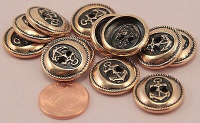 """12 Pink Gold Tone Metal Hollow Back Anchor Nautical Buttons 3/4"""" 19MM # 6328"""