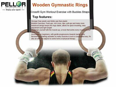 Wooden Olympic Gymnastic Rings Fitness Training  Exercise Ring Strength Training