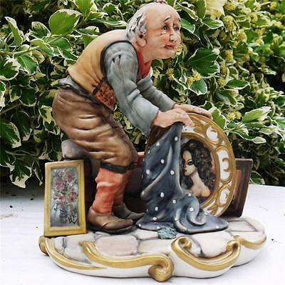 ITALIAN CAPODIMONTE CERAMIC MILIO FIGURE ARTIST with CANVAS PAINTINGS