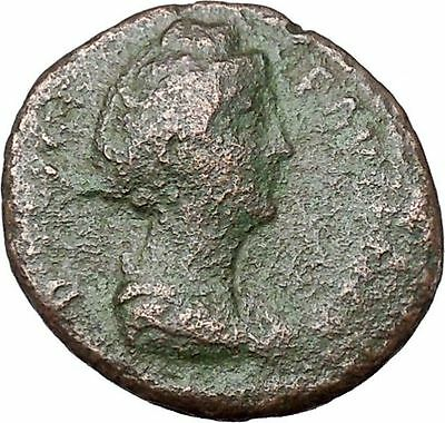 FAUSTINA I Antoninus Pius Wife Ancient Roman Coin Vesta Home Family  i40850