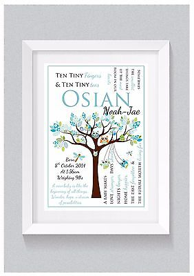 A4 Personalised Baby Boy Name Birth Details Gift Print - Owls in Tree (Wall Art)