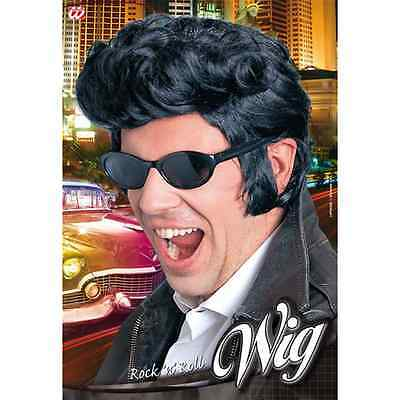 Parrucca Rock'n'roll Nera Uomo Accessorio Costume Carnevale Grease