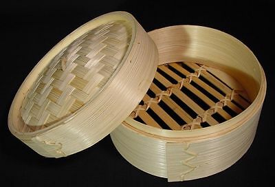 "New Dim Sum Bamboo Steamer 2 Piece Set 6"" Diameter"