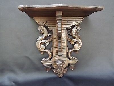 Antique French Hand Carved Wooden Wall Shelf Crowned Lions Griffins Black Forest