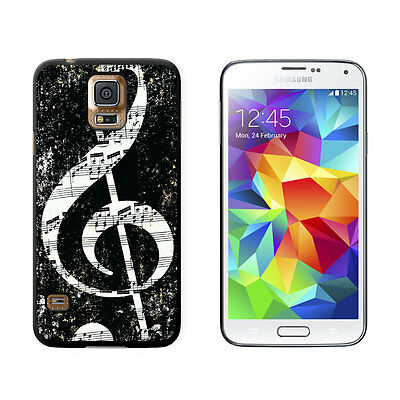 Vintage Treble Clef Music Black - Hard Protective Case for Samsung Galaxy S5