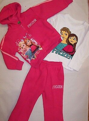 Bnwt Frozen Hot Pink Cotton 3 Piece Tracksuits With Long Sleeve Top Size 1-5