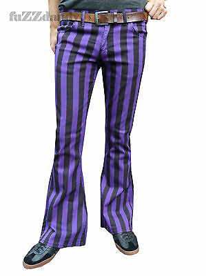 FLARES Purple Black Striped mens bell bottoms hippie vtg indie trousers 60's
