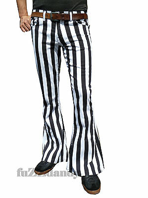 FLARES White Black Striped Mens Bell Bottoms Hippie vtg indie Trousers Stripey