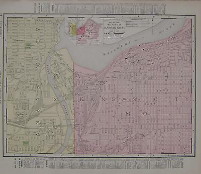 1895 Kansas City, Mo. Dated Color map*  Arkansas map on back . 119 years old!