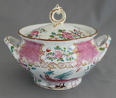 ANTIQUE MINTON #9646 COCKATRICE PINK SMOOTH SUGAR BOWL & LID EARLY GLOBE MARK