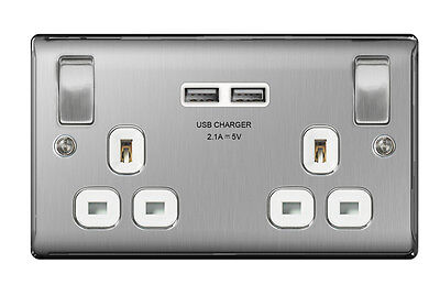 British General Double Switched Power Socket with USB 2.1A Charger Sockets